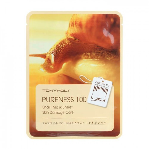 Tony Moly Pureness 100 Snail Mask Sheet Маска для лица с улиточным муцином 21 мл - купить в Минске | INDIANSTORE