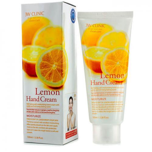[3W CLINIC] Крем для рук увлажняющий с экстрактом ЛИМОНА Lemon Hand Cream, 100 мл