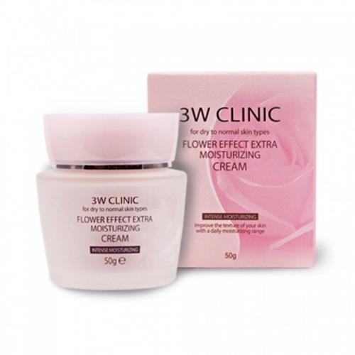 Крем для лица экстра-увлажнение, 50 г, 3W Clinic Flower Effect Extra Moisturizing Cream