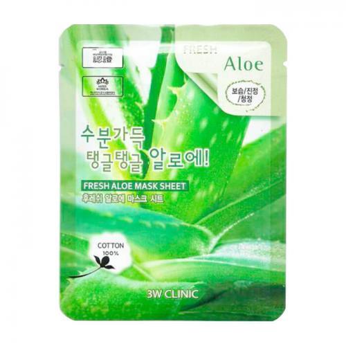 Освежающая тканевая маска для лица с алоэ, 23 мл, 3W Clinic Fresh Aloe Mask Sheet