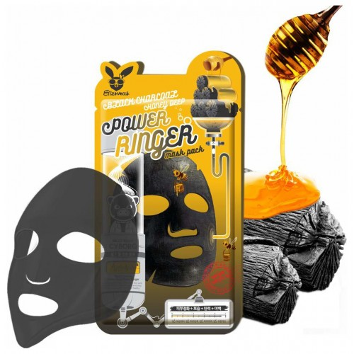 [Elizavecca] Тканевая маска д/лицас углем Black Charcoal Honey Deep Power Ringer Mask Pack, 1 шт