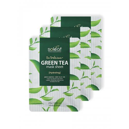 Тканевая маска для лица с зеленым чаем, 25 мл, Soleaf