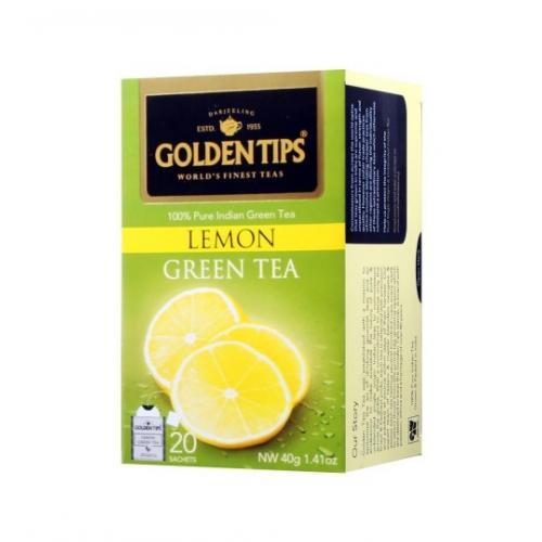 """Golden Tips Lemon Green Tea Bags / Чай """"Зеленый лимонный"""" (20 пакетиков)"""