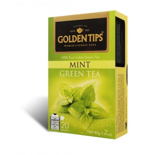 """Golden Tips Mint Green Tea Bags / Чай """"Зеленый с мятой"""" (20 пакетиков)"""