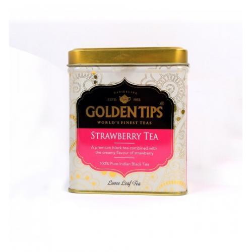 """Golden Tips Strawberry Black Tea Tin Can / Черный чай """"Клубничный"""" в банке 100г."""