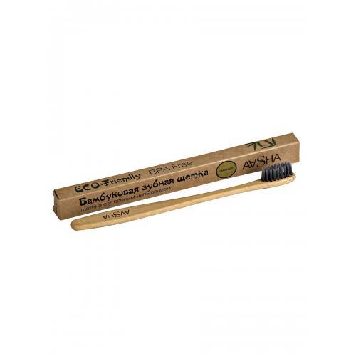 Бамбуковая зубная щетка с угольной щетиной (мягкая) AASHA