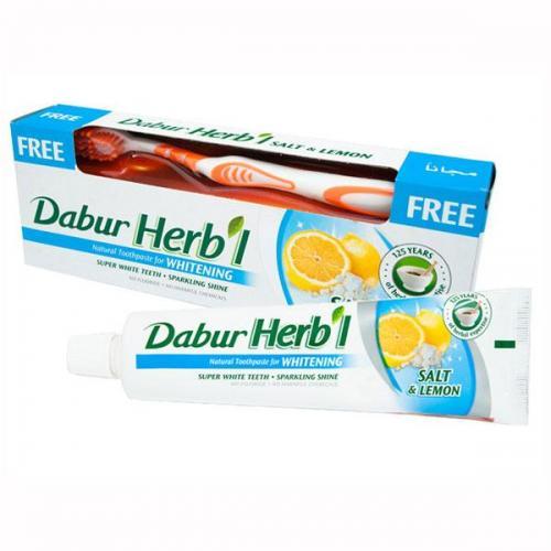 Дабур Зубная паста с солью и лимоном 150 г + зубная щетка