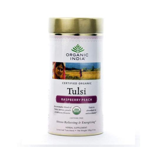 Базиликовый чай Малина и Персик Органик Индия (Organic India Tulsi Rasberry Peach), 100г